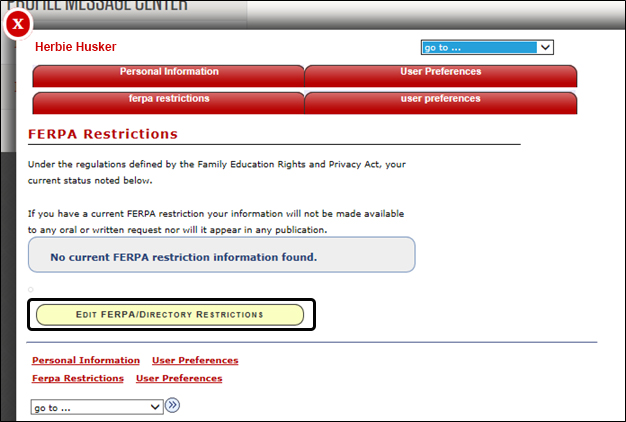 Edit FERPA/Directory Restrictions button highlighted