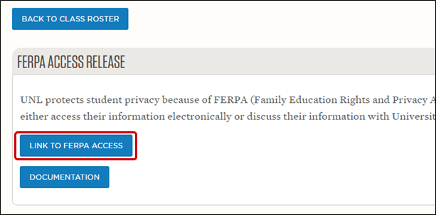 Link to FERPA Access button highlighted