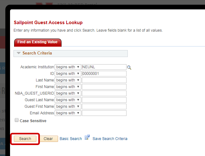 Guest FERPA Access Lookup popup shown